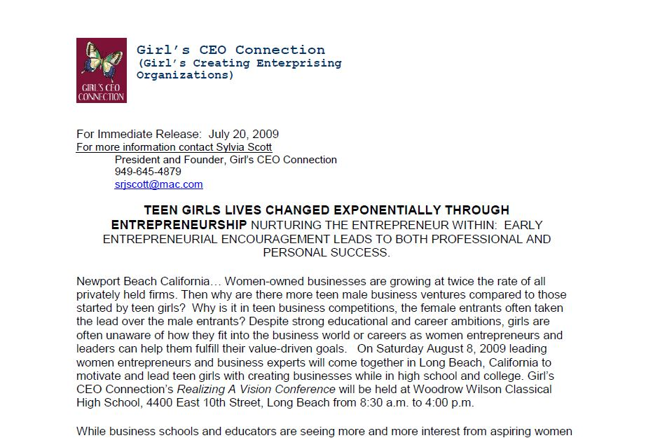 Girls C.E.O. Connection - Realizing a Vision Conference - Teen Girls Entrepreneurship