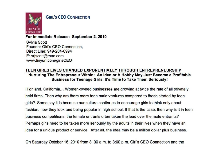 Girls' C.E.O. Connection - Realizing a Vision Conference - Teen Girls Entrepreneurship
