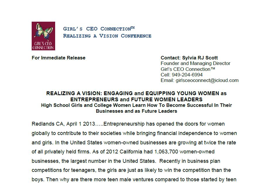 Girls' C.E.O. Connection - Realizing a Vision Conference - Young Women Entrepreneurs